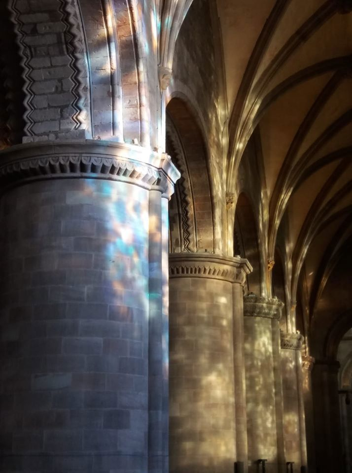 A photograph of the pillars on the south side of the cathedral. Light is pouring in from the windows and dappling the pillars