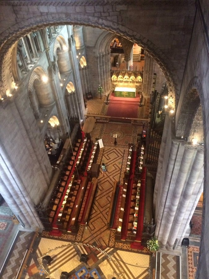 A photograph of the Quire taken from above as a bird's eye view