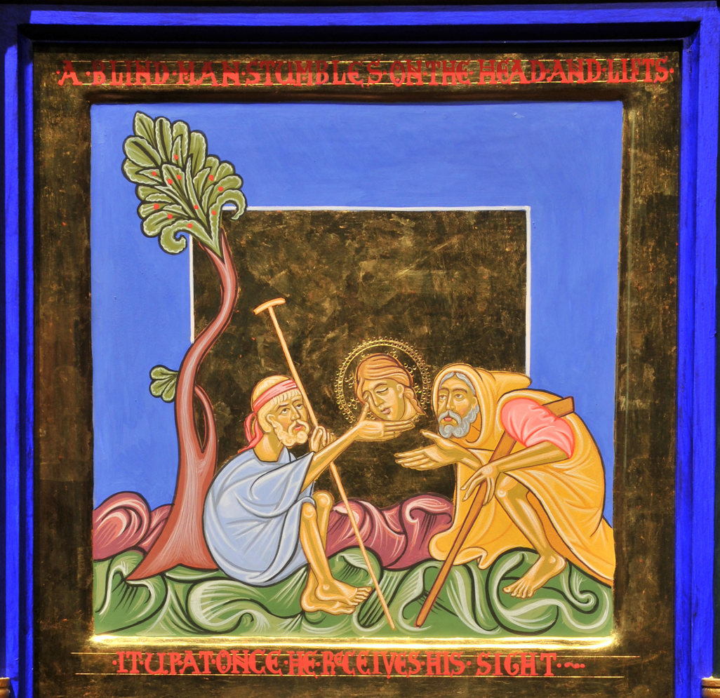 An icon style painting in rich jewel colours with gold embellishment: two men are crouched on the floor under a tree and hold the head up between them