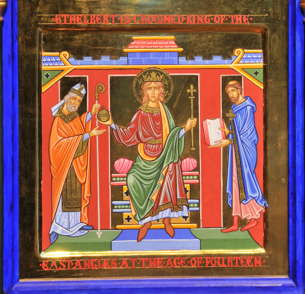 An icon style painting in rich jewel colours with gold embellishment: Ethelbert the King sits on his throne