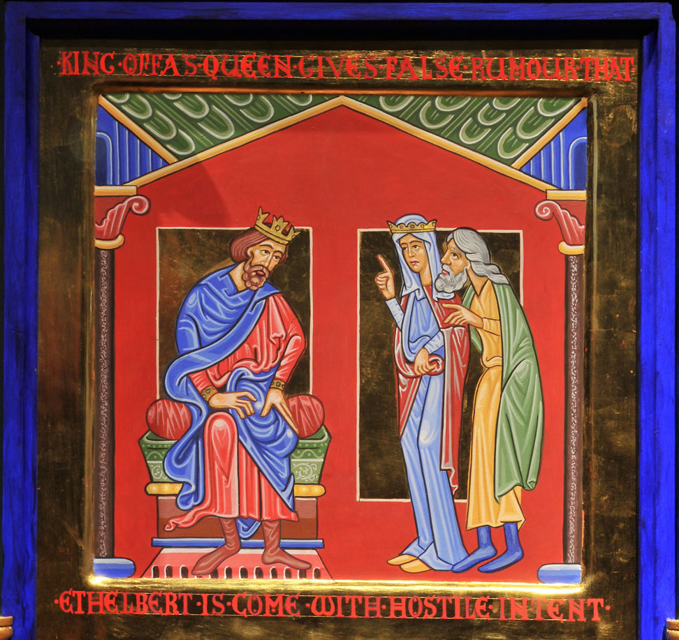 An icon style painting in rich jewel colours with gold embellishment: a king sits on his throne and two people to his side whisper to each other