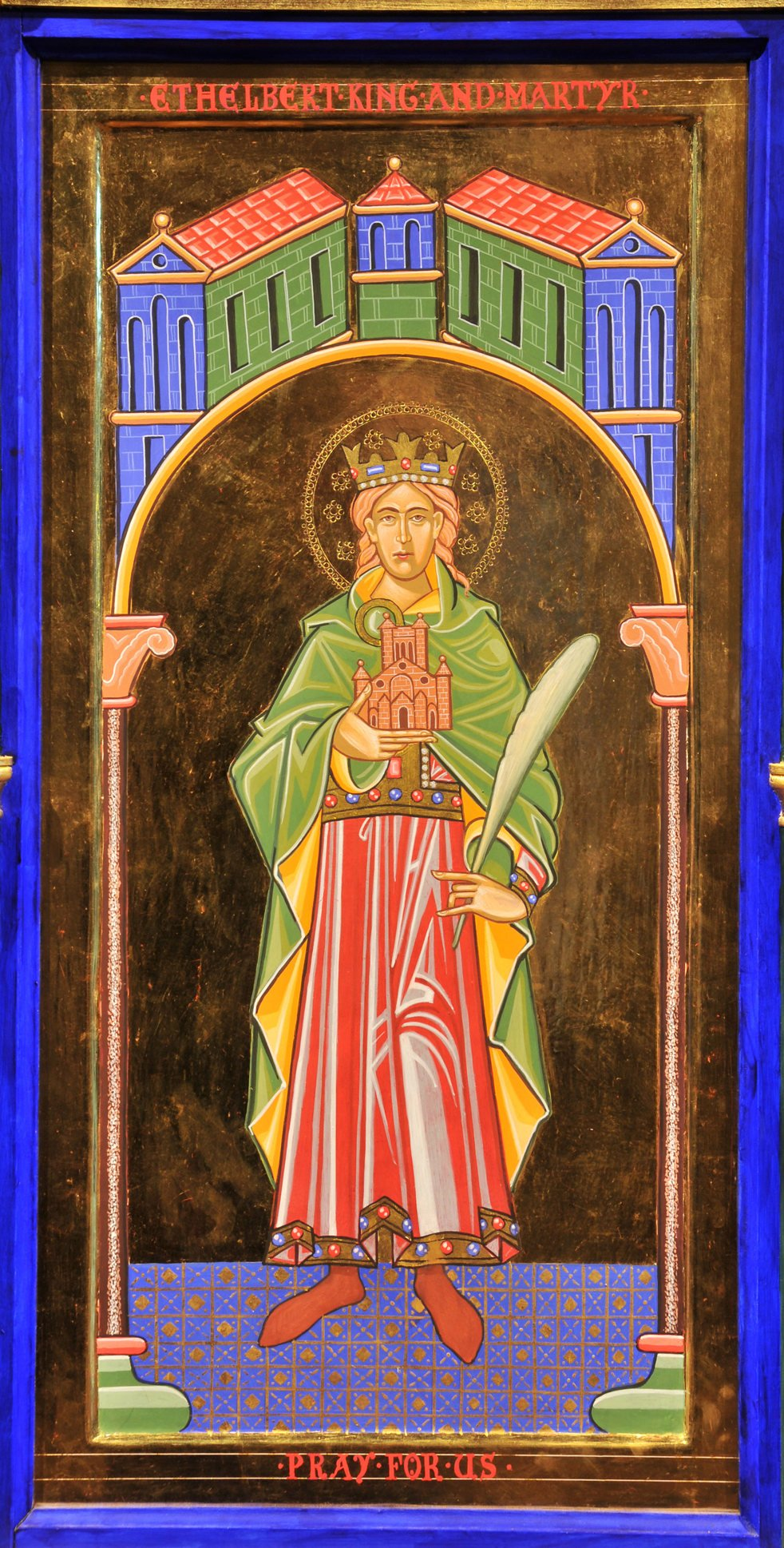 An icon style painting in rich jewel colours with gold embellishment: Ethelbert stands tall with a crown on his head. In his left hand he holds a quill and in the other a building, the cathedral