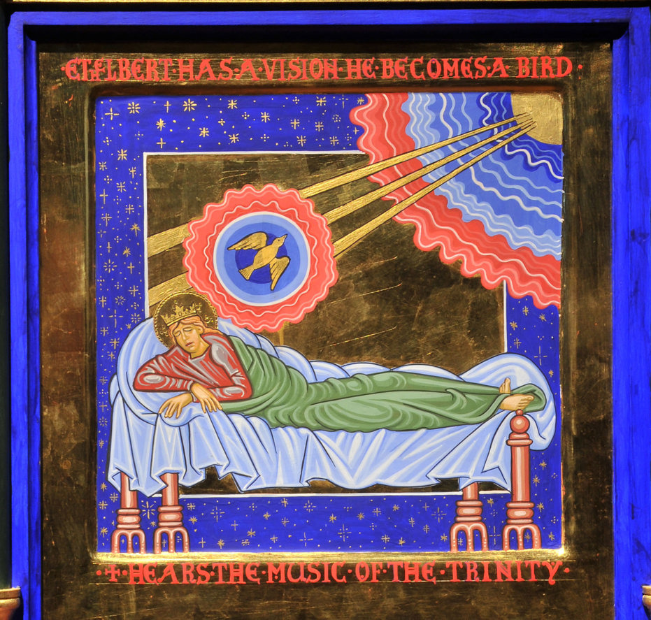 An icon style painting in rich jewel colours with gold embellishment: Ethelbert lies in bed. A golden bird flies from him upward to the sun