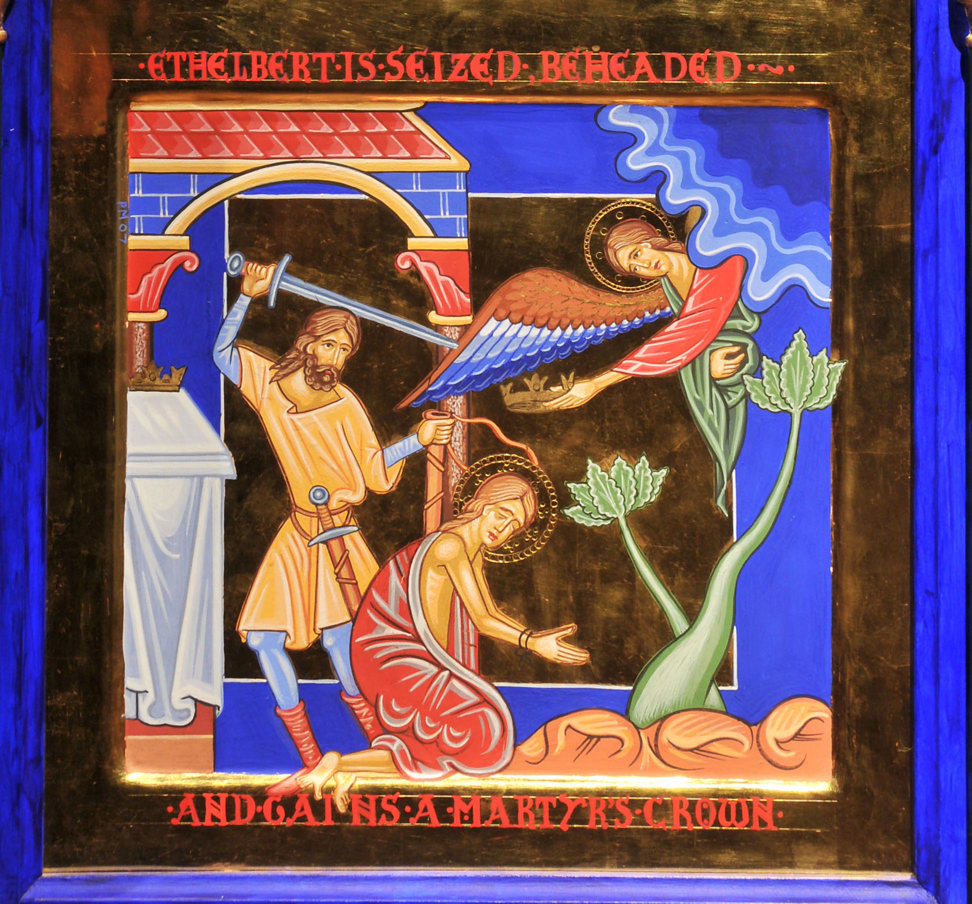 An icon style painting in rich jewel colours with gold embellishment: Ethelbert kneels on the ground as a man raises a sword above his head. An angel reaches down from the heavens to them