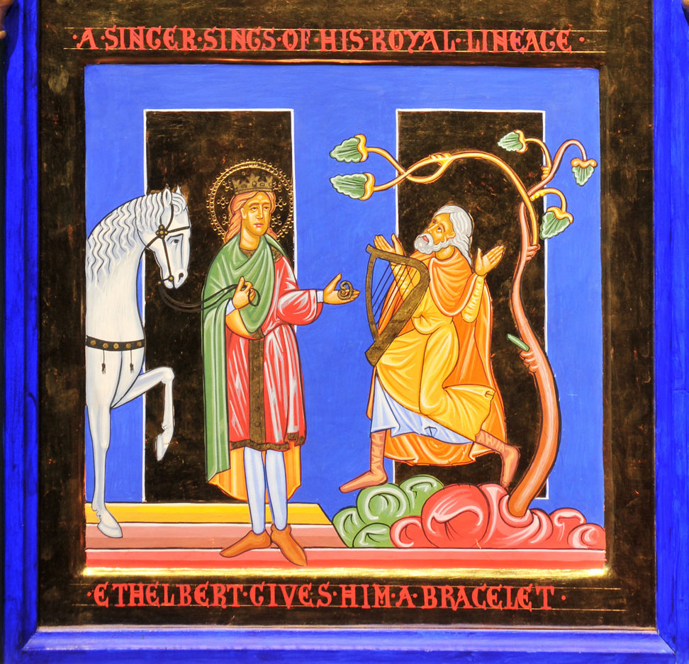 An icon style painting in rich jewel colours with gold embellishment: a man is under a tree with a harp, Ethelbert passes him a bracelet