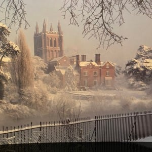 Christmas Card - Misty morning Hereford Cathedral